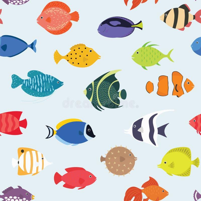 Modelo inconsútil con los pescados Mundo submarino dibujado mano Fondo artístico colorido Acuario puede ser utilizado para stock de ilustración