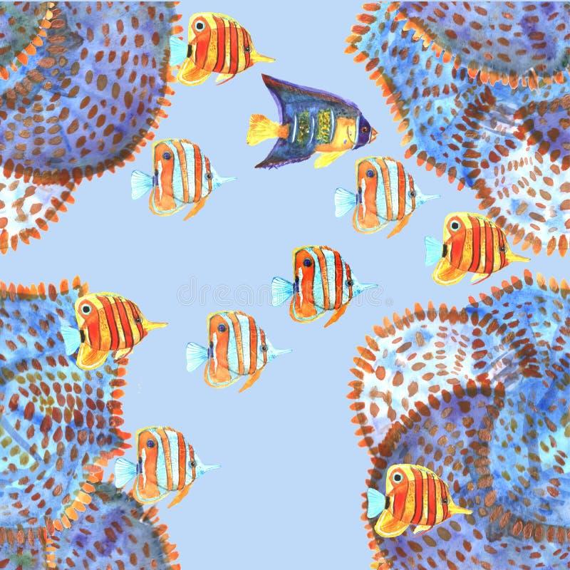Modelo inconsútil con los pescados watercolor stock de ilustración