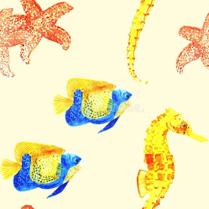 Modelo inconsútil con los pescados watercolor libre illustration