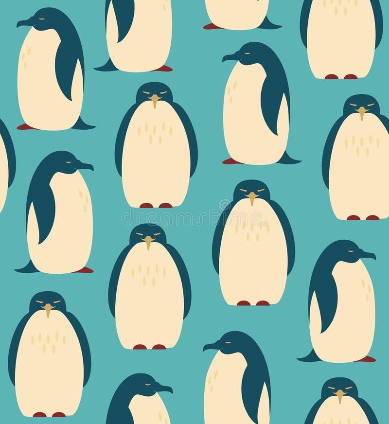 Modelo inconsútil con los pingüinos stock de ilustración