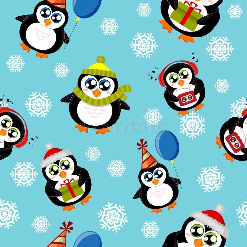 Modelo inconsútil con los pingüinos y los copos de nieve lindos ilustración del vector
