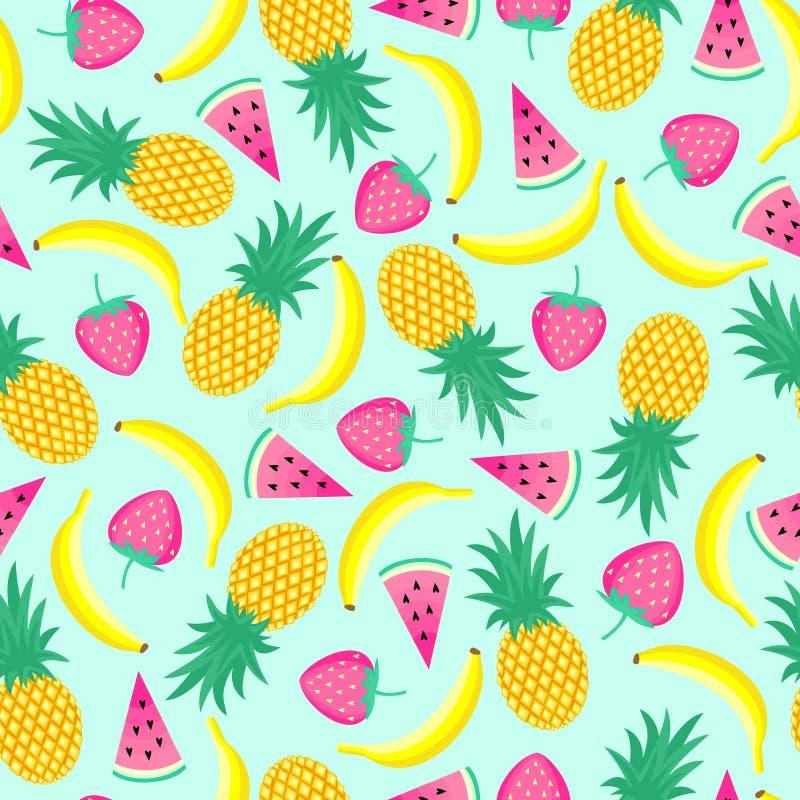 Modelo inconsútil con los plátanos amarillos, las piñas y las fresas jugosas en fondo del verde menta ilustración del vector
