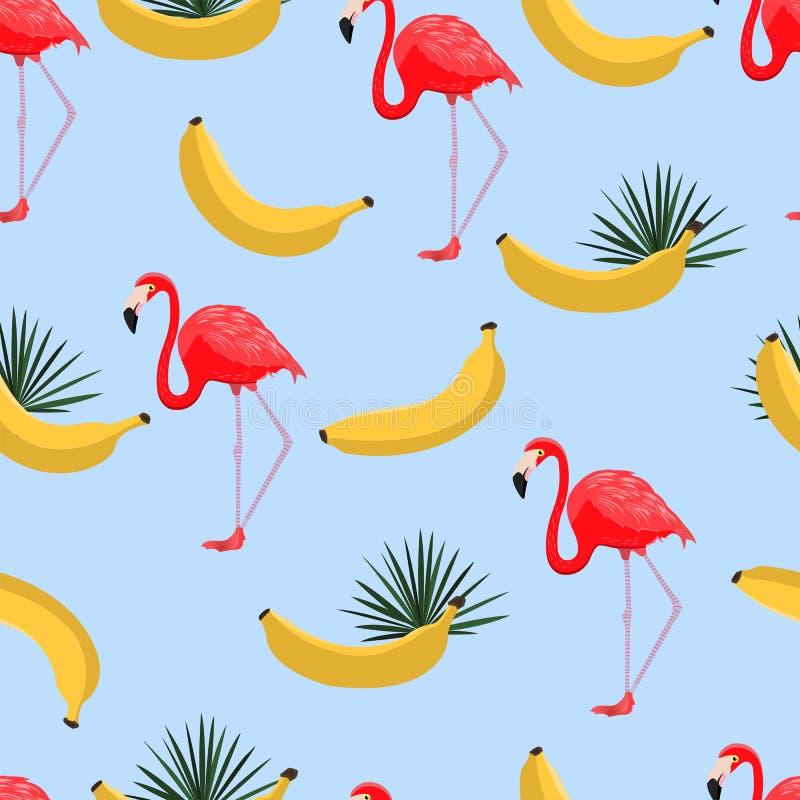Modelo inconsútil con los plátanos y las hojas tropicales Fondo hawaiano del estilo con las plantas tropicales de la selva, los p stock de ilustración