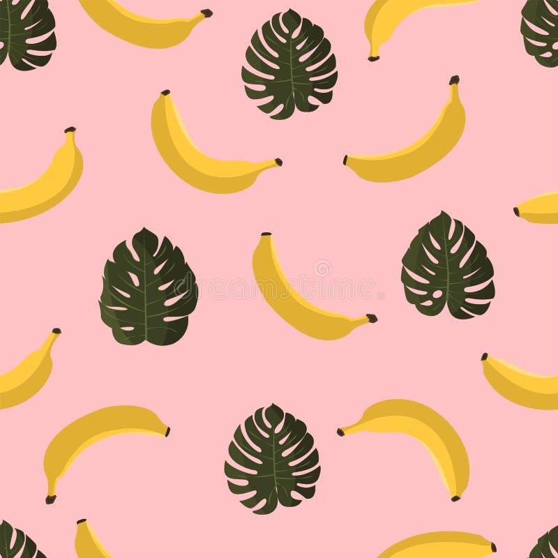 Modelo inconsútil con los plátanos y las hojas tropicales Fondo hawaiano del estilo con las plantas tropicales de la selva y los  stock de ilustración