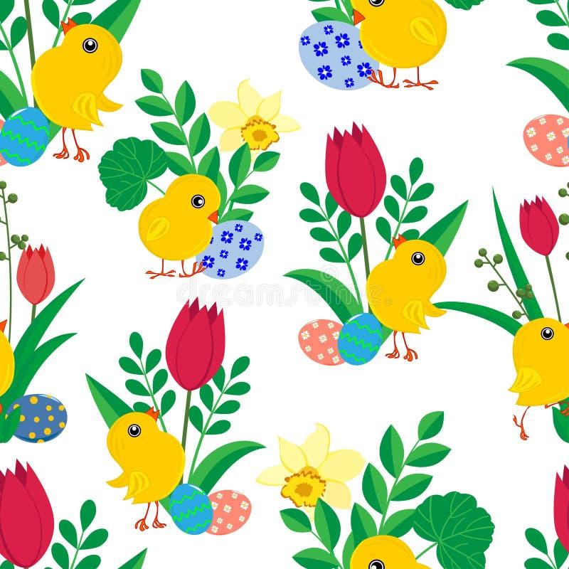 Modelo inconsútil con los polluelos lindos de Pascua, los huevos coloreados brillantes, los narcisos y los tulipanes en el fondo  ilustración del vector
