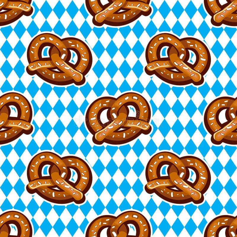 Modelo inconsútil con los pretzeles para Oktoberfest en fondo bávaro de la bandera ilustración del vector