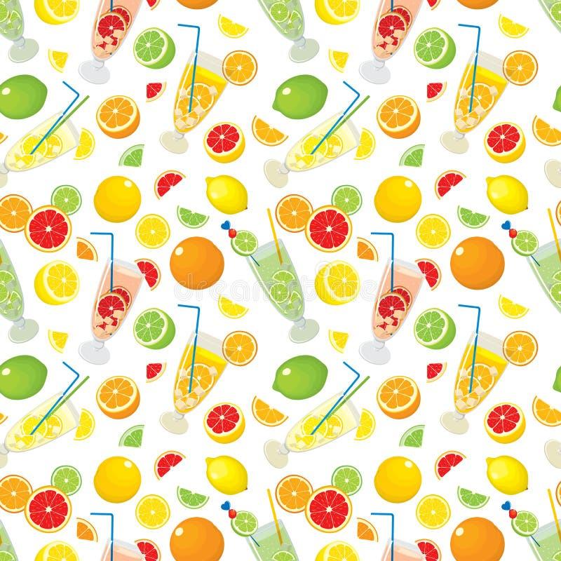 Modelo inconsútil con los productos de la fruta cítrica - naranja, limón, cal, pomelo y con los cócteles de Mojito ilustración del vector
