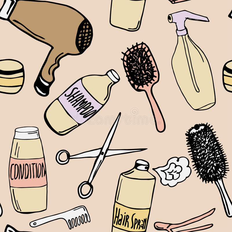 Modelo inconsútil con los productos de la peluquería stock de ilustración