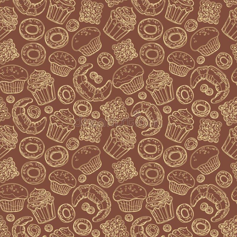Modelo inconsútil con los productos dibujados mano de la panadería del garabato Sistema del vector de los elementos para la torta stock de ilustración