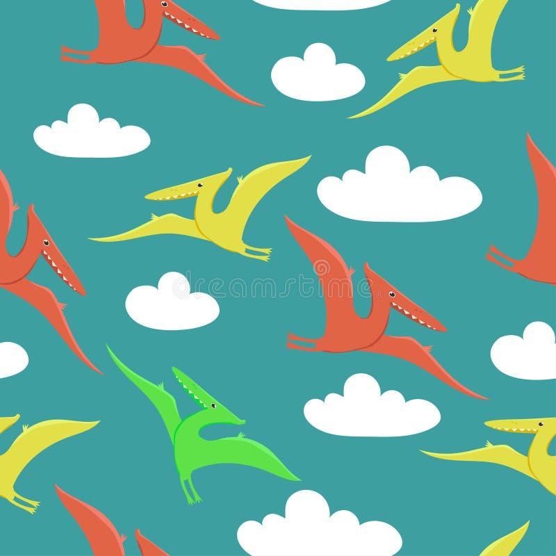 Modelo inconsútil con los pterodáctilos que vuelan en el cielo Impresión para la tela o empaquetado u otro Modelo del vector stock de ilustración