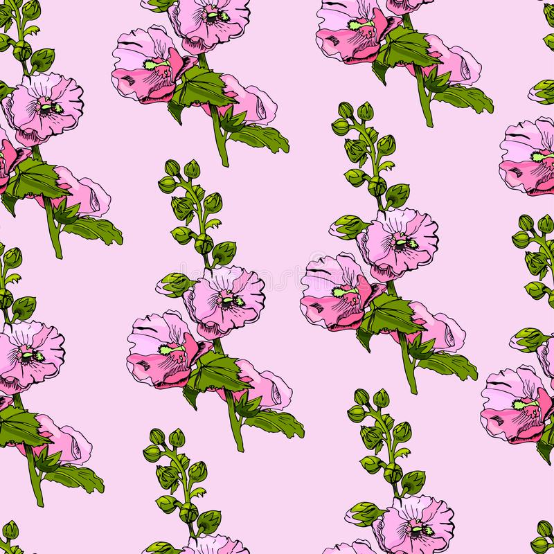 Modelo inconsútil con los ramos florecientes de flores rosadas de la malva y de hojas verdes Tinta exhausta de la mano y bosquejo stock de ilustración