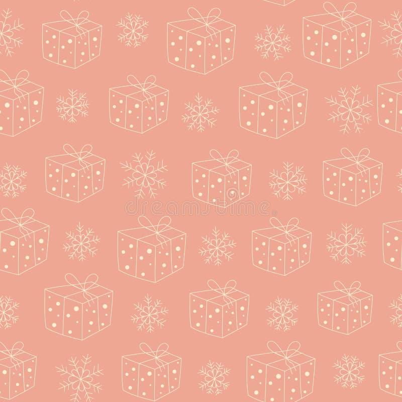 Modelo inconsútil con los regalos y la nieve ilustración del vector