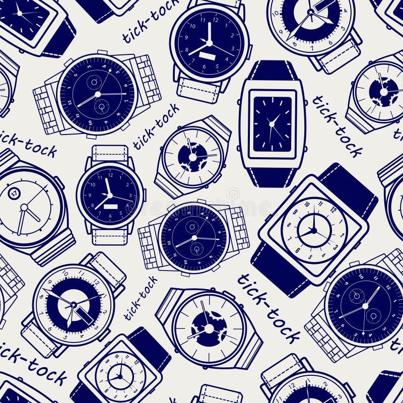Modelo inconsútil con los relojes ilustración del vector