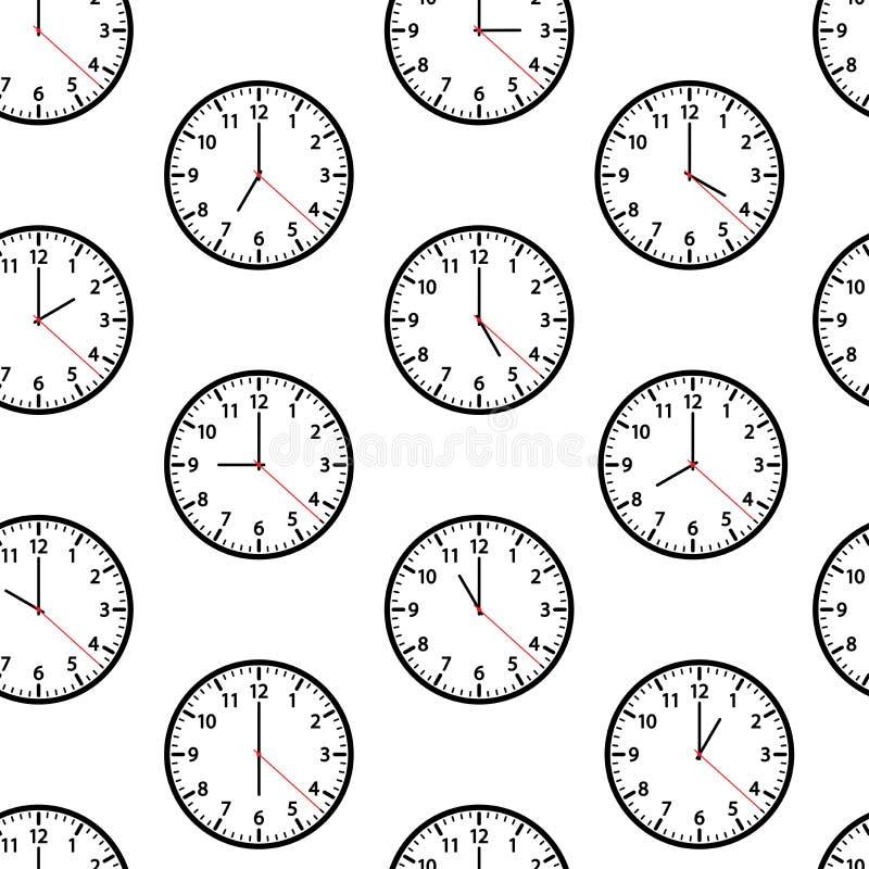 Modelo inconsútil con los relojes que muestran momento diferente Ilustraci?n del vector stock de ilustración