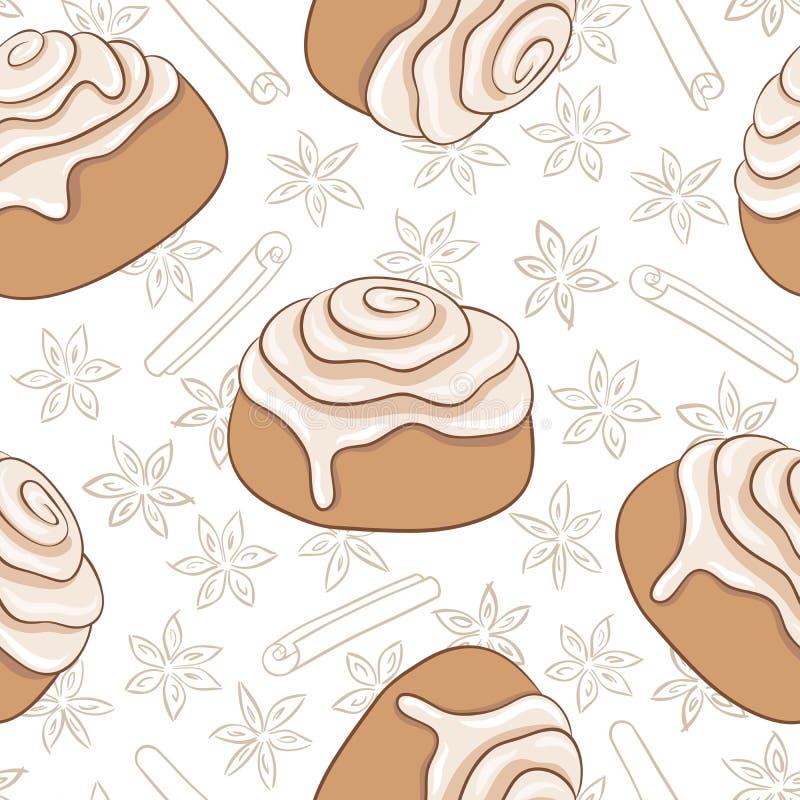 Modelo inconsútil con los rollos y la especia de canela Pasteles dulces recientemente cocidos con helar y la especia stock de ilustración