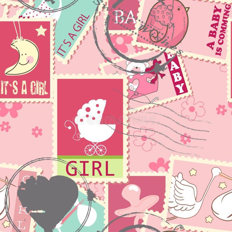 Modelo inconsútil con los sellos del bebé stock de ilustración