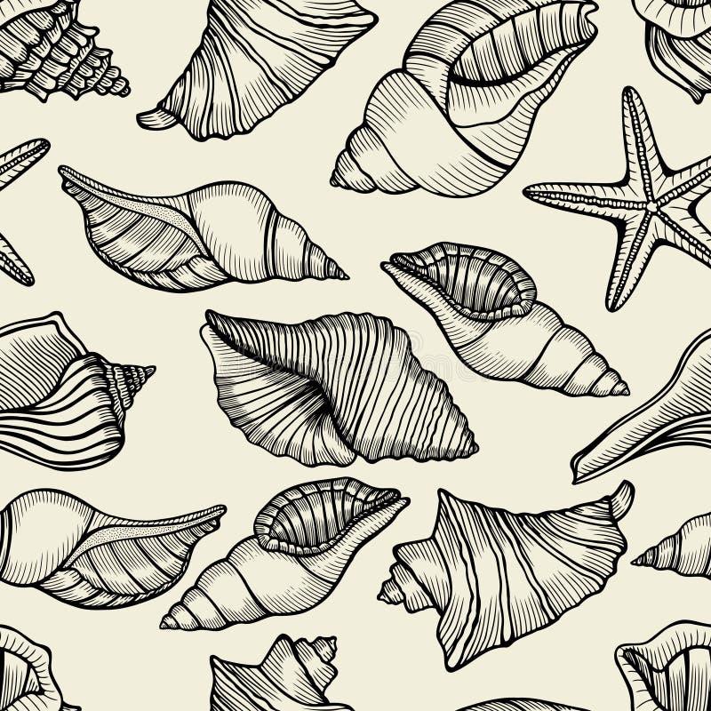 Modelo inconsútil con los shelles libre illustration