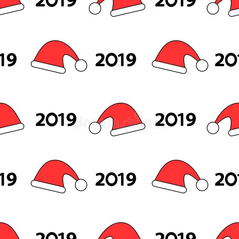 Modelo inconsútil con los sombreros rojos y número negro 2019 en el whi libre illustration