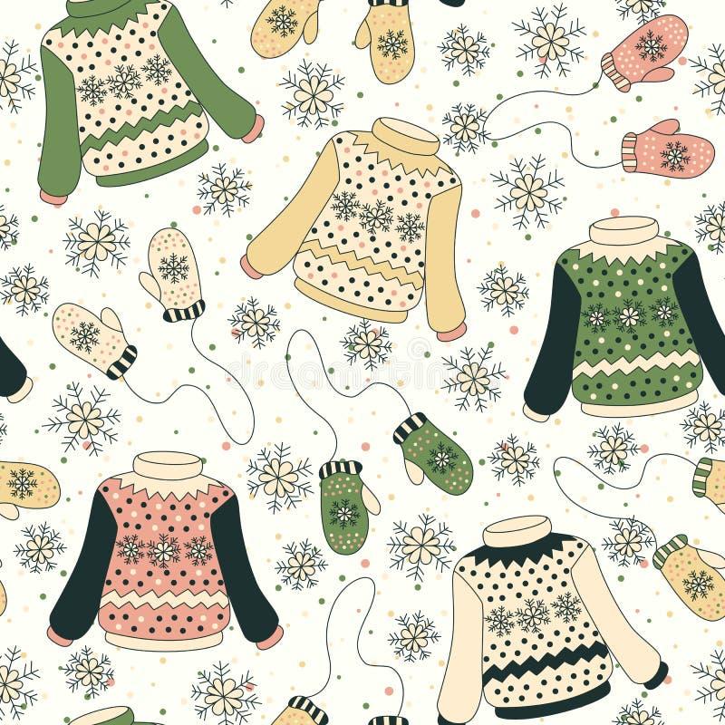 Modelo inconsútil con los suéteres, manoplas libre illustration