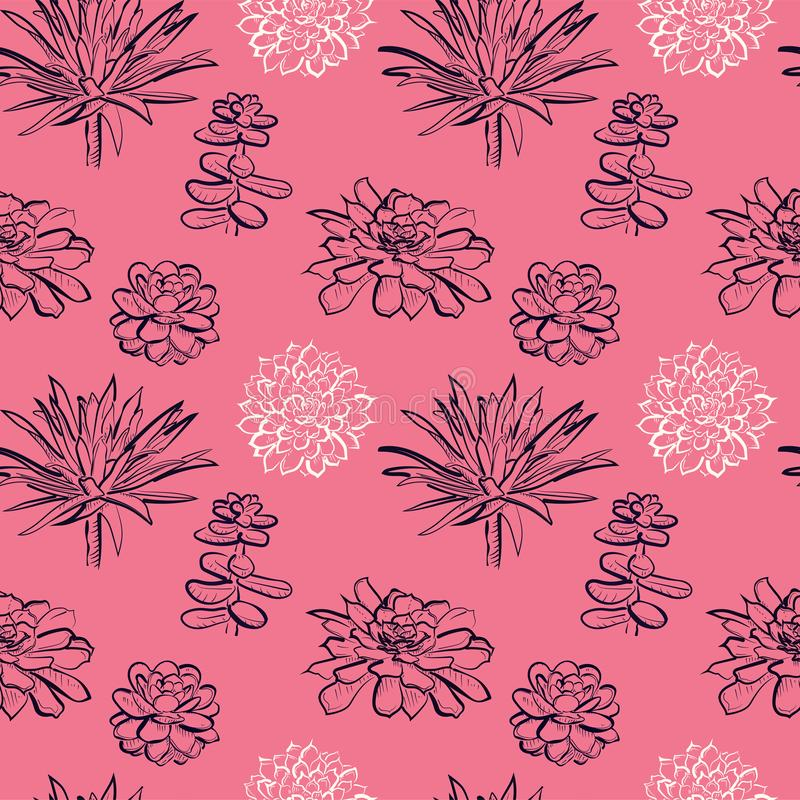 Modelo inconsútil con los succulents en fondo rosado libre illustration