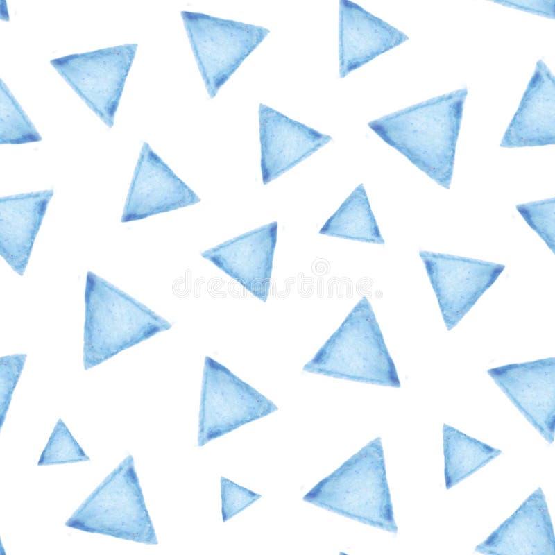 Modelo inconsútil con los triángulos azules en el fondo blanco stock de ilustración