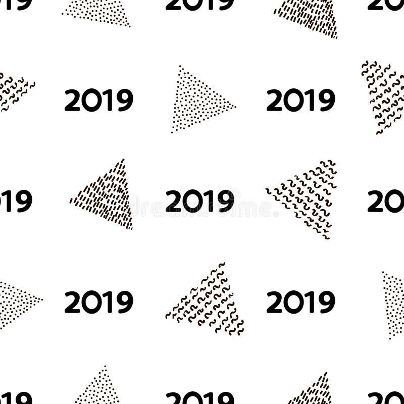 Modelo inconsútil con los triángulos y el número negros 2019 en el whi libre illustration