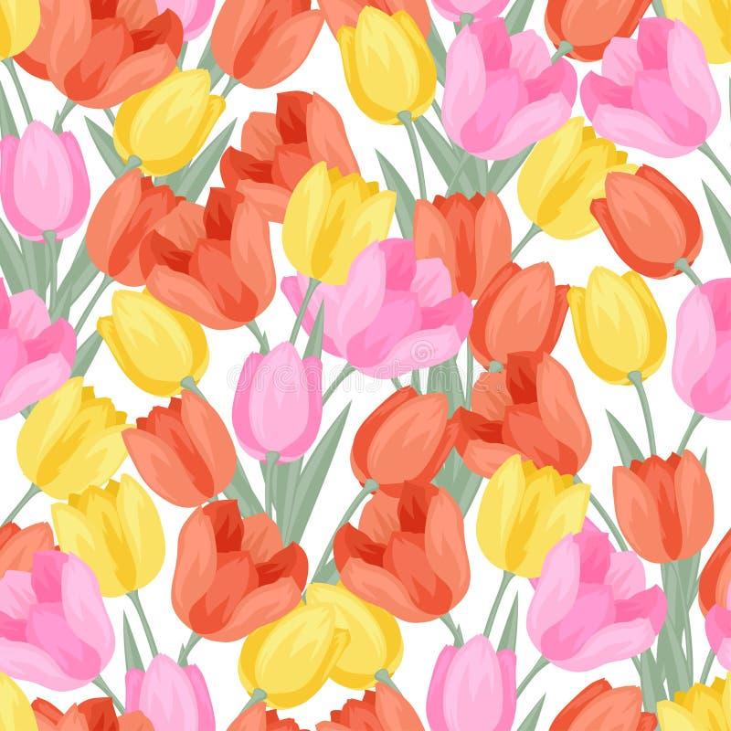 Modelo inconsútil con los tulipanes coloreados libre illustration
