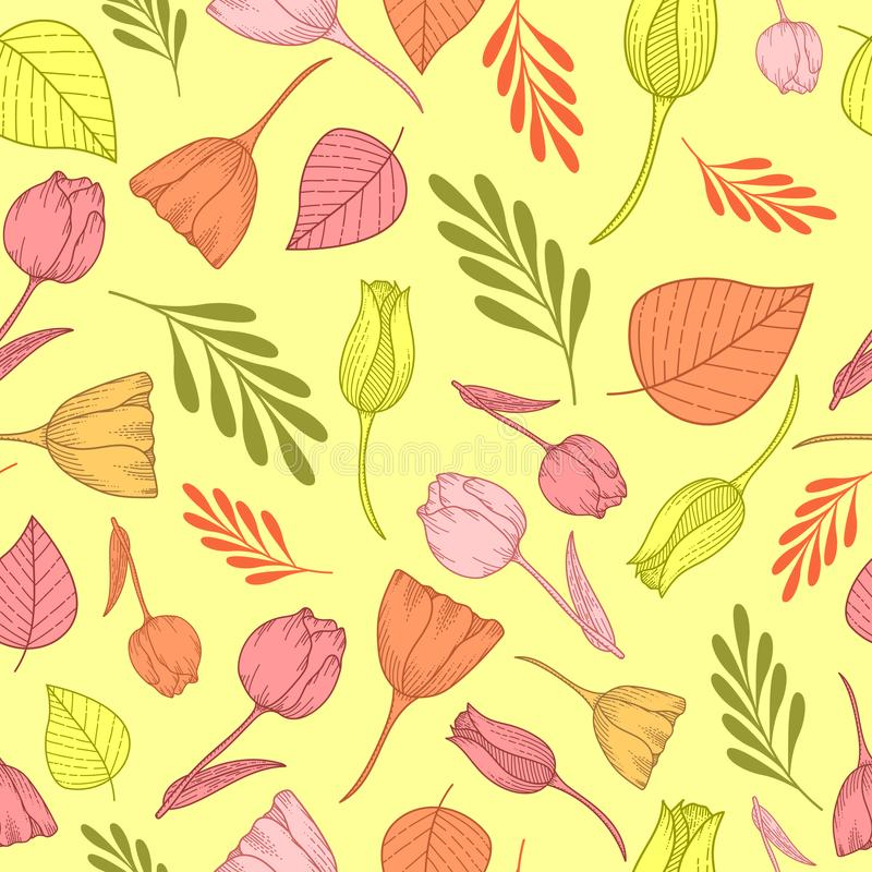 Modelo inconsútil con los tulipanes de la naranja, amarillos y rosados en un beckground beige stock de ilustración