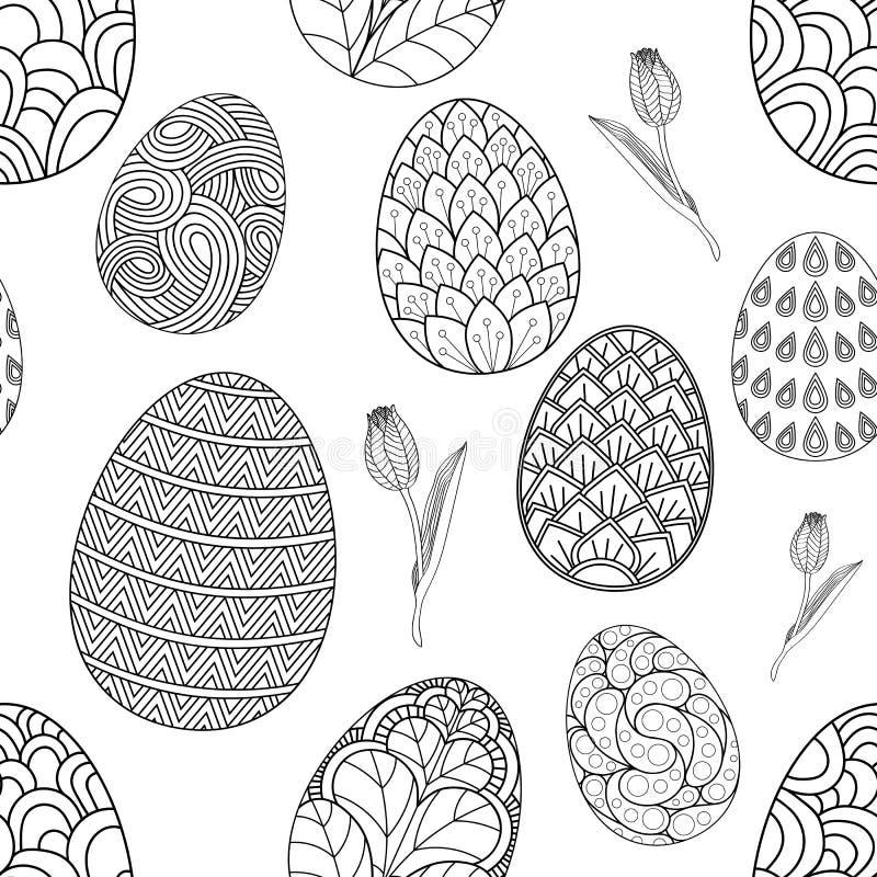 Modelo inconsútil con los tulipanes a mano de los garabatos c de los huevos de Pascua Fondo del vector libre illustration