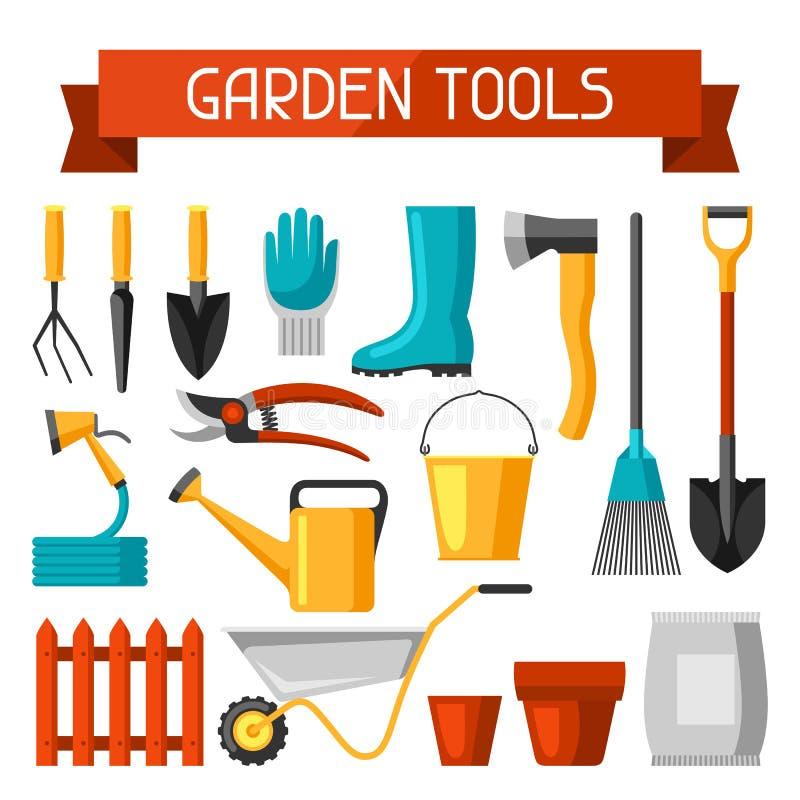 Modelo inconsútil con los utensilios de jardinería y los iconos Todos para el ejemplo del negocio que cultiva un huerto stock de ilustración