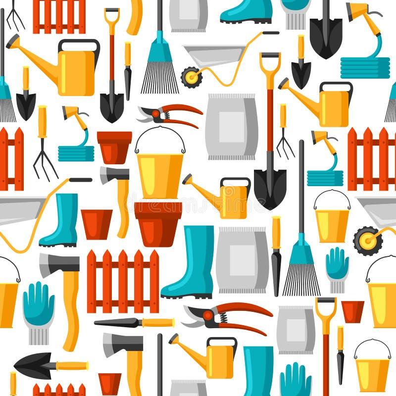 Modelo inconsútil con los utensilios de jardinería y los iconos Todos para el ejemplo del negocio que cultiva un huerto ilustración del vector