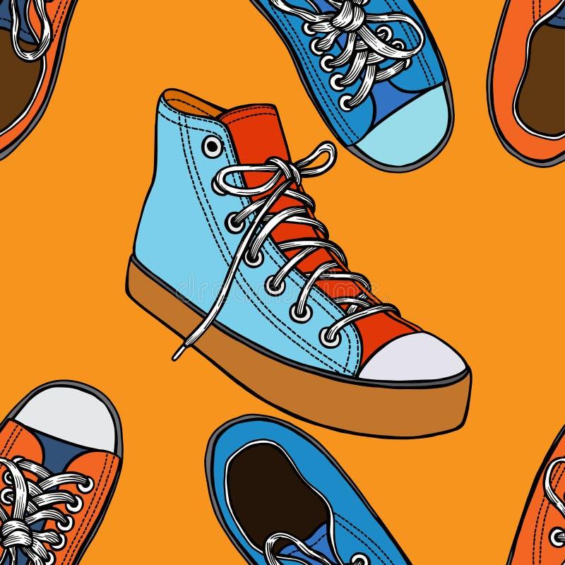 Modelo inconsútil con los zapatos rojos y azules stock de ilustración