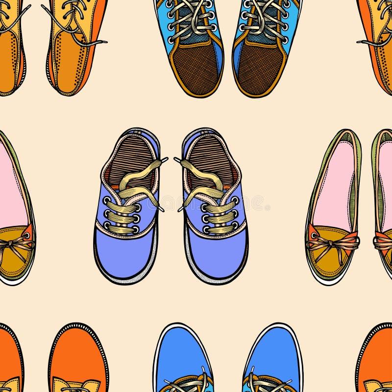 Modelo inconsútil con los zapatos rojos y azules libre illustration