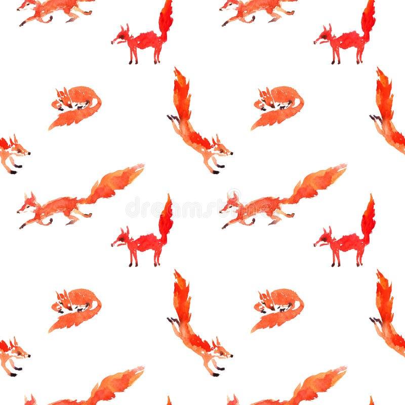 Modelo inconsútil con los zorros de la acuarela libre illustration