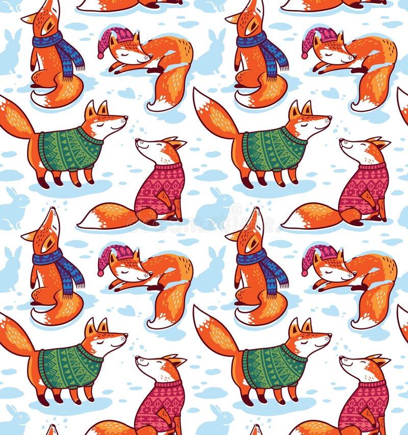 Modelo inconsútil con los zorros lindos en suéteres Ejemplo del vector del día de fiesta ilustración del vector