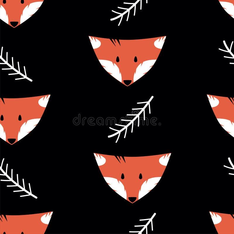 Modelo inconsútil con los zorros y las ramitas en un fondo negro libre illustration