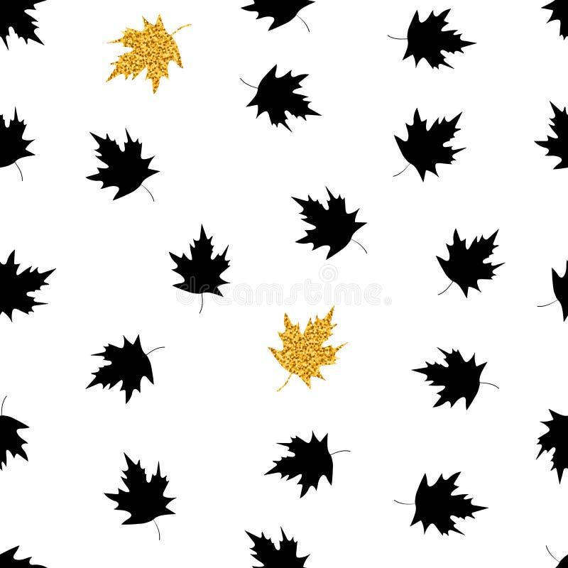 Modelo inconsútil con negro y hojas de arce del oro en el b blanco libre illustration