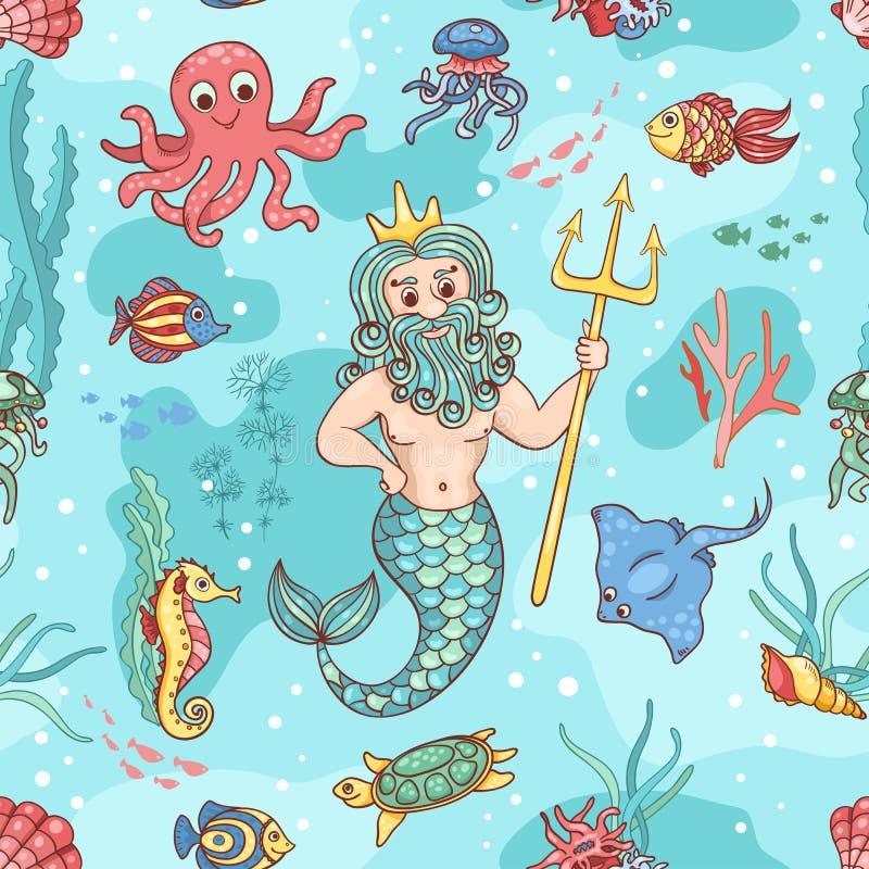 Modelo inconsútil con Neptuno stock de ilustración