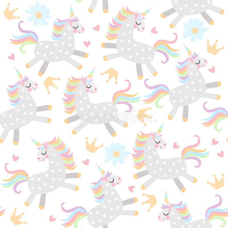 Modelo inconsútil con pequeños unicornios, coronas, corazones y flores de la margarita en el fondo blanco en vector stock de ilustración