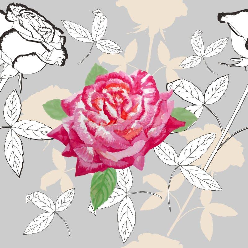 Modelo inconsútil con roses-05 libre illustration