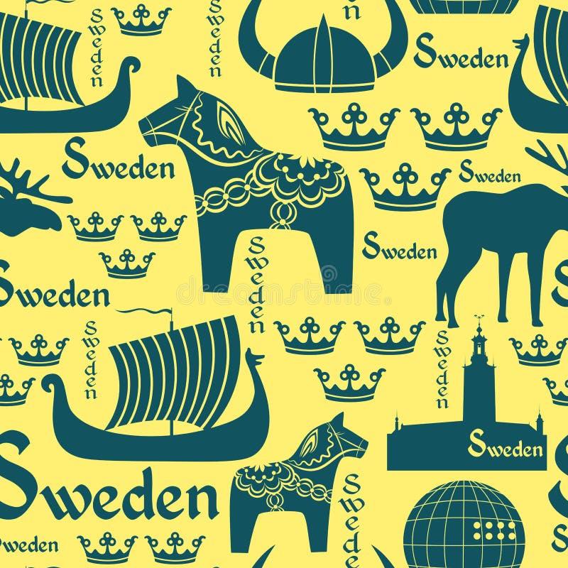 Modelo inconsútil con símbolos de Suecia ilustración del vector