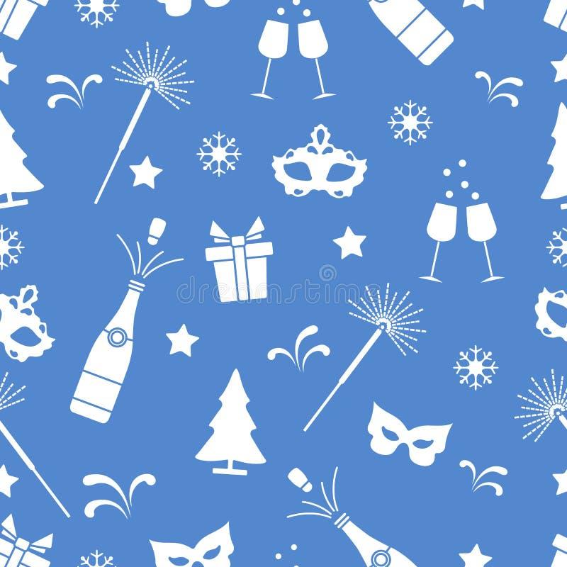 Modelo inconsútil con símbolos del Año Nuevo Regalos, fuegos artificiales, botella y vidrios con el champán, árbol de navidad, má stock de ilustración