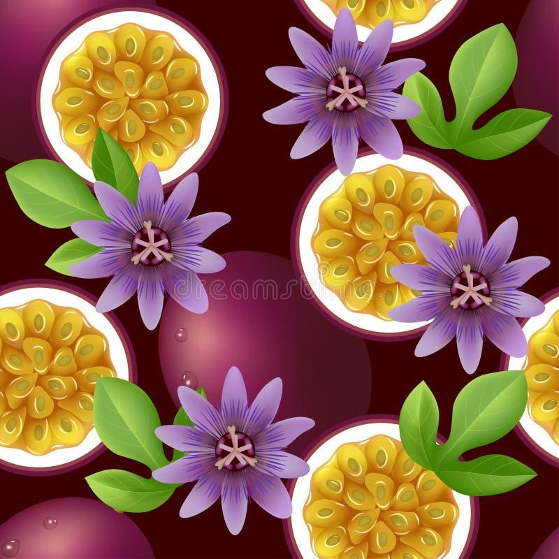 Modelo inconsútil con sabor a fruta con la fruta de la pasión y las flores stock de ilustración