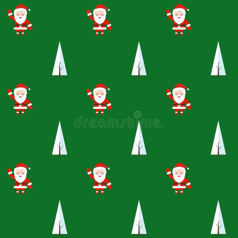 Modelo inconsútil con Santa Claus y el árbol de navidad Fondo para la invitación, cartel, tarjetas de felicitación, papel pintado stock de ilustración