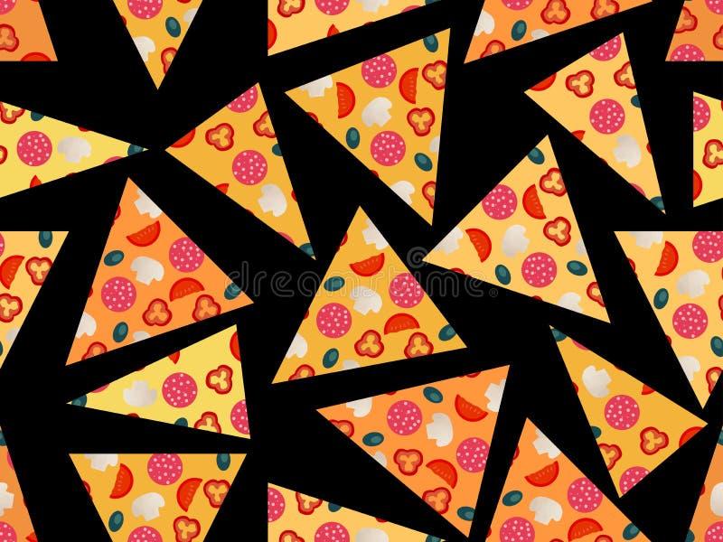 Modelo inconsútil con un pedazo de pizza ilustración del vector