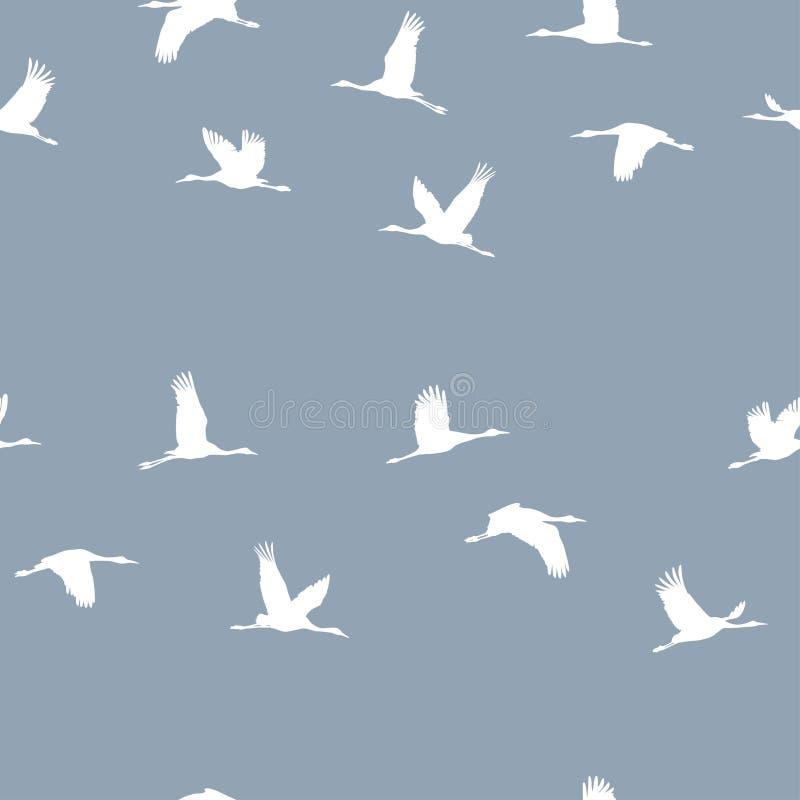 Modelo inconsútil con una multitud de las grúas blancas en un fondo azul ilustración del vector