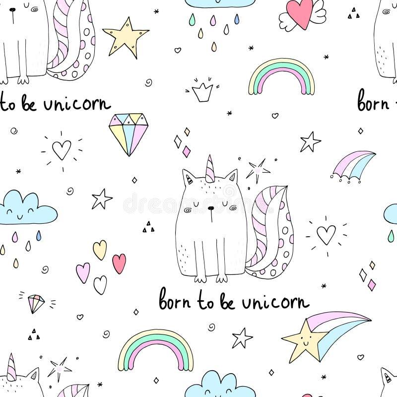 Modelo inconsútil con unicornio lindo dibujado mano de los gatos Ejemplo del vector del gato de la historieta libre illustration