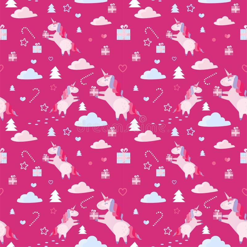 Modelo inconsútil con unicornios, abetos, bastón de caramelo, cajas de la Navidad de regalo en fondo carmesí Plantilla del día de libre illustration