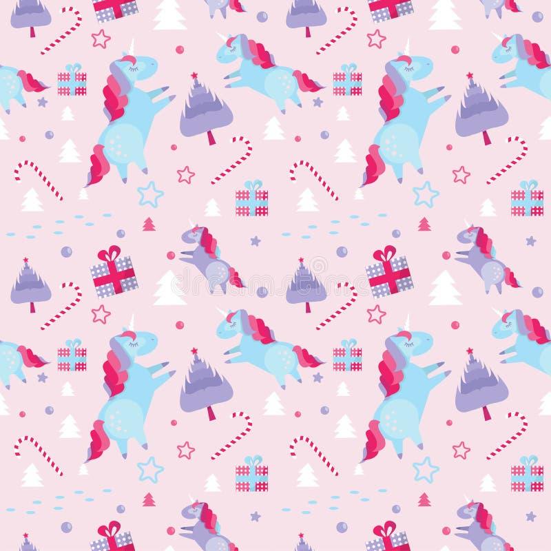 Modelo inconsútil con unicornios, abetos, bastón de caramelo, cajas de la Navidad de regalo en fondo rosado Plantilla del día de  stock de ilustración