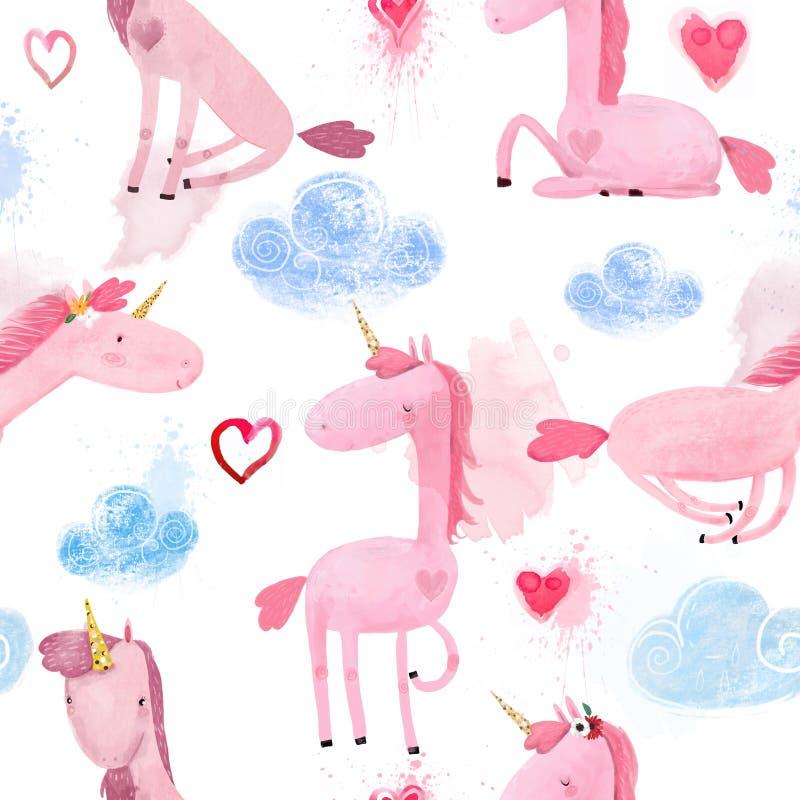 Modelo inconsútil con unicornios de la historieta libre illustration